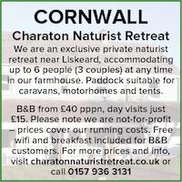 Charaton Naturist Retreat Cornwall Liskeard nudist couples farmhouse holidays B&B