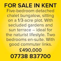 For Sale in Kent House naturist nudist commuter gardens terrace bungalow chalet