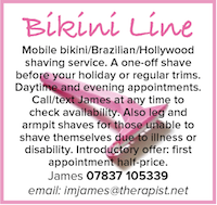 Bikini Line mobile shaving service holiday naturist nudist Brazilian Hollywood leg armpit disabled