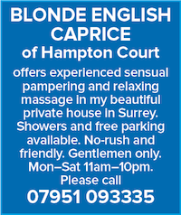 Blonde English Caprice naturist massage sensual pampering gentlemen surrey