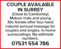 Couple surrey Camberley massage naturist four hand sensual couples singles home mature