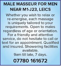 Male Masseur Men naturist nudist gay Leicestershire