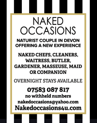 Naked-Occasions-devon-chefs-naturist-cleaners-waitress-butler-gardener-masseuse-maid-services-couple