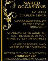 Naked Occasions Devon parties naturist nude naked chef butler waitress gardener massage