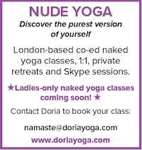Nude Yoga Doria London naturist classes naked Skype sessions ladies