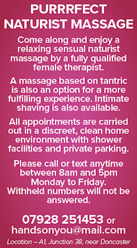 Purrfect naturist massage female therapist Doncaster Yorkshire A1 shaving tantric