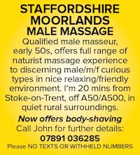 Staffordshire Moorlands naturist massage Stoke on Trent ladies couples male masseur body shaving
