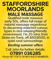 Staffordshire moorlands naturist massage male masseur naked stoke on trent summer offers john