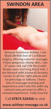 Swindon Area Sensual Naturist Massage Ashley naked nude ebony