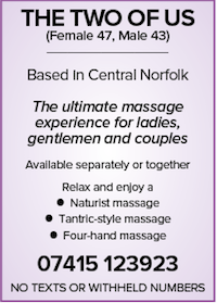 The two of us naturist massage norfolk ladies gentlemen couples tantric four hand