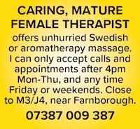 caring mature female therapist hampshire hants farnborough m4 swedish naturist aromatherapy nude naked