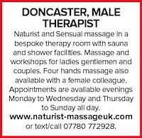 doncaster male therapist naturist massage sensual ladies gentlemen couples workshops nudist nude naked