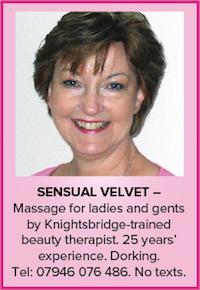sensual velvet Dorking surrey naturist massage nude naked ladies gents trained beauty therapist