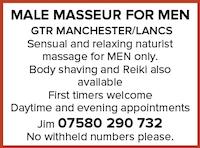 Male Masseur for Men Greater Manchester Lancashire naturist nudist gay shaving Reiki