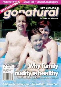 The official magazine of the New Zealand naturist federation, published March 2017. Includes: Why family nudity is healthy; Charlie Gilmour profoundly liberated; national rally at Auckland; conversation with Donna Miller; Rosco and Raewyn in Hawaii; and more. Imported from New Zealand.