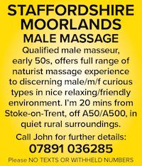 Staffordshire Moorlands naturist massage Stoke on Trent rural ladies couples male masseur nude naked