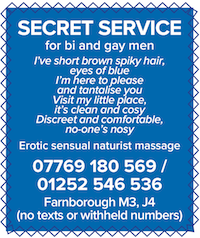 Secret Service Farnborough Hampshire Hants gay male naturist massage bi men erotic sensual nude naked male