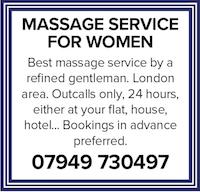 Massage for women gentlemen ladies London home hotel nude naked