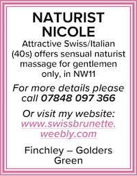 Naturist Nicole sensual massage north london attractive 40s Swiss Italian brunette naked NW11