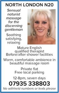 North London N20 naturist massage gents men mature therapist qualified