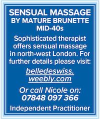 Naturist sensual massage mature brunette north london attractive 40s brunette naked nude NW11 Swiss Nicole