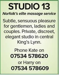 Studio 13 Norfolk elite naturist nudist massage kings lynn gents ladies couples kate harry sensuous pleasure