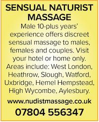Sensual naturist nudist naked massage male full-body couples females males london heathrow slough watford buckinghamshire home hotel