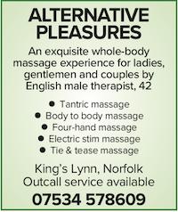 Alternative Pleasures Norfolk naturist nudist massage kings lynn gents ladies couples sensuous pleasure male masseur