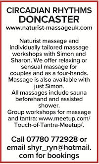 Circadian rhythms doncaster naturist massage nude naked nudist simon sharon four hand tantra meetup couples