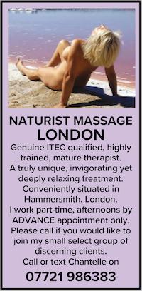 Naturist massage London Hammersmith trained mature nude naked nudist therapist
