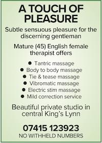 touch of pleasure Norfolk elite naturist nudist massage kings lynn gentlemen sensuous pleasure female therapist masseuse mature