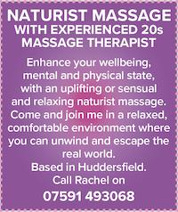 Huddersfield Yorkshire naturist massage female therapist 20s relax unwind nude naked sensual