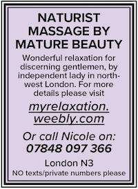Naturist sensual tantric massage mature brunette north london attractive 40s brunette naked nude N3 Nicole