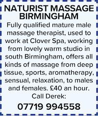 naturist massage birmingham male masseur therapist qualified deep tissue sports sensual aromatherapy relaxation nude naked