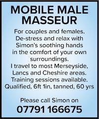 Mobile Male masseur naturist naked nude couples females merseyside lancs lancashire cheshire qualified training simon