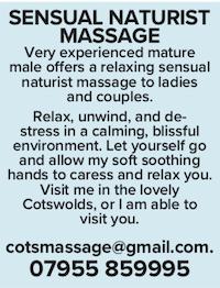 sensual naturist massage mature male masseur naked nude ladies couples cotswolds