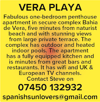 Vera Playa naturist penthouse holidays Spain nudist naked nude apartment vacations