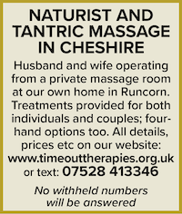 naturist tantric massage cheshire husband and wife runcorn singles couples four hand time out therapies
