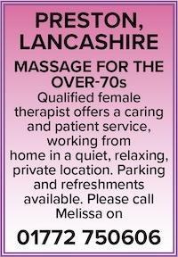 Preston Lancashire naturist massage over 70s female therapist naked nude