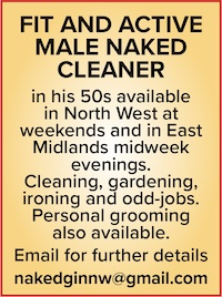 naked male cleaner north west east midlands naturist cleaning gardening jobs personal grooming